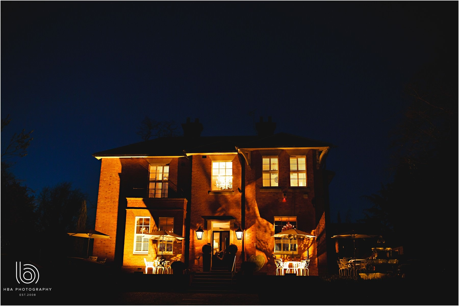 the old vicarage hotel at night