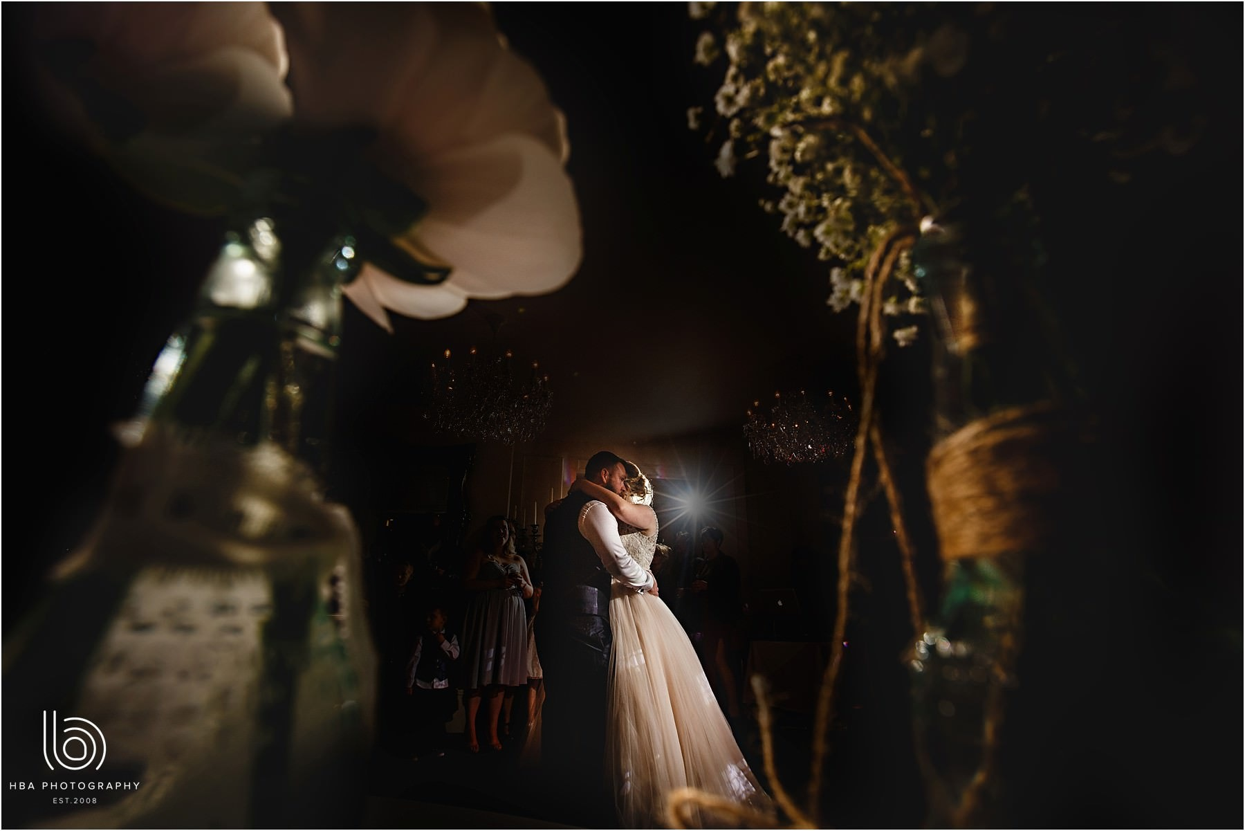 the bride and groom in the night