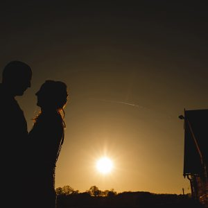 sunset photo of a bride and groom in Derbyshire