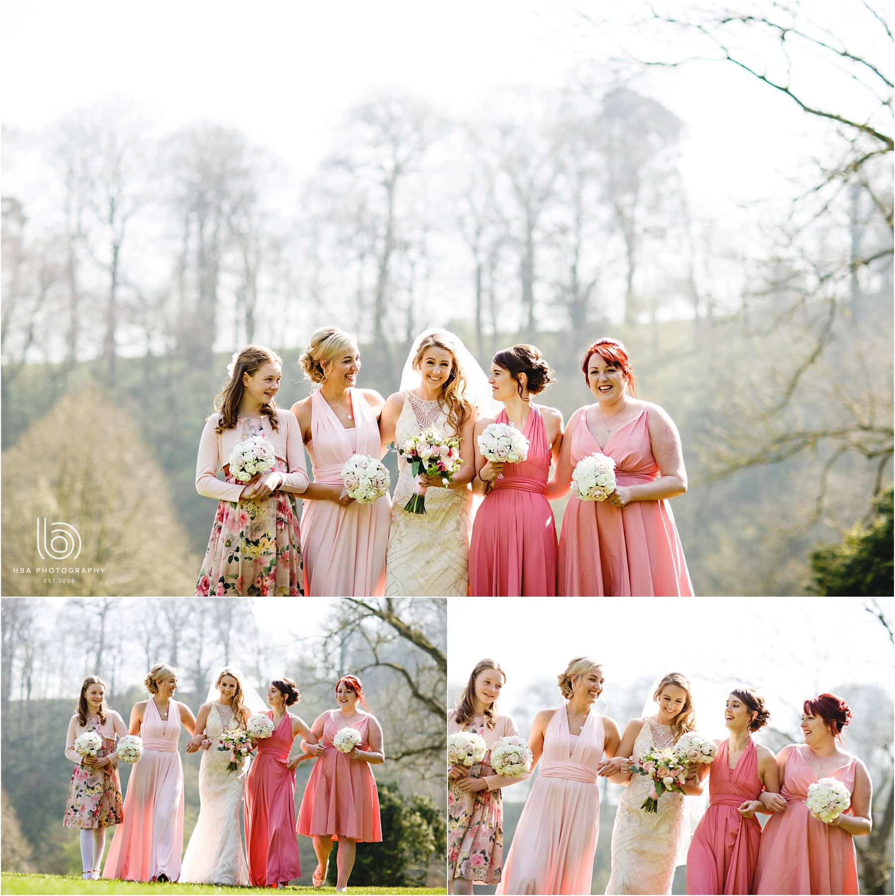 the bride and her bridesmaids at Ilam Hall