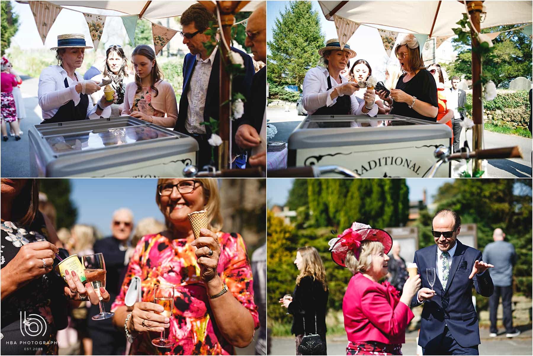 wedding guests enjoying Ice cream in Ellastone