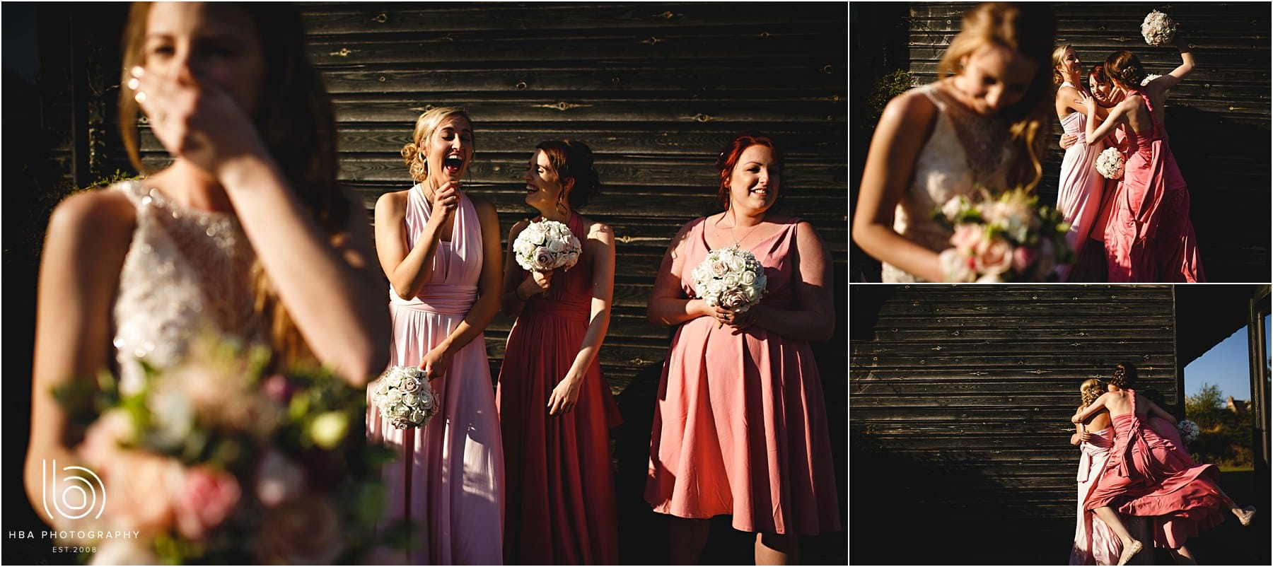 the bride and her bridesmaids laughing