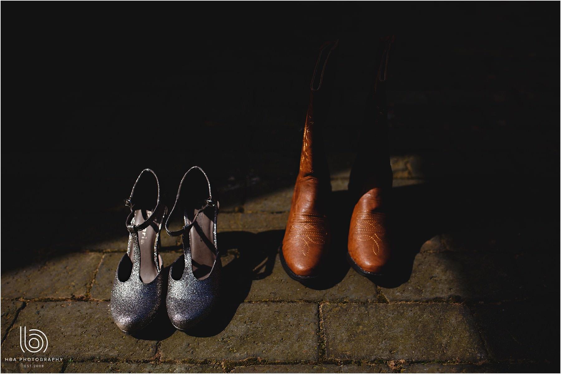 the bride's cowboy boots