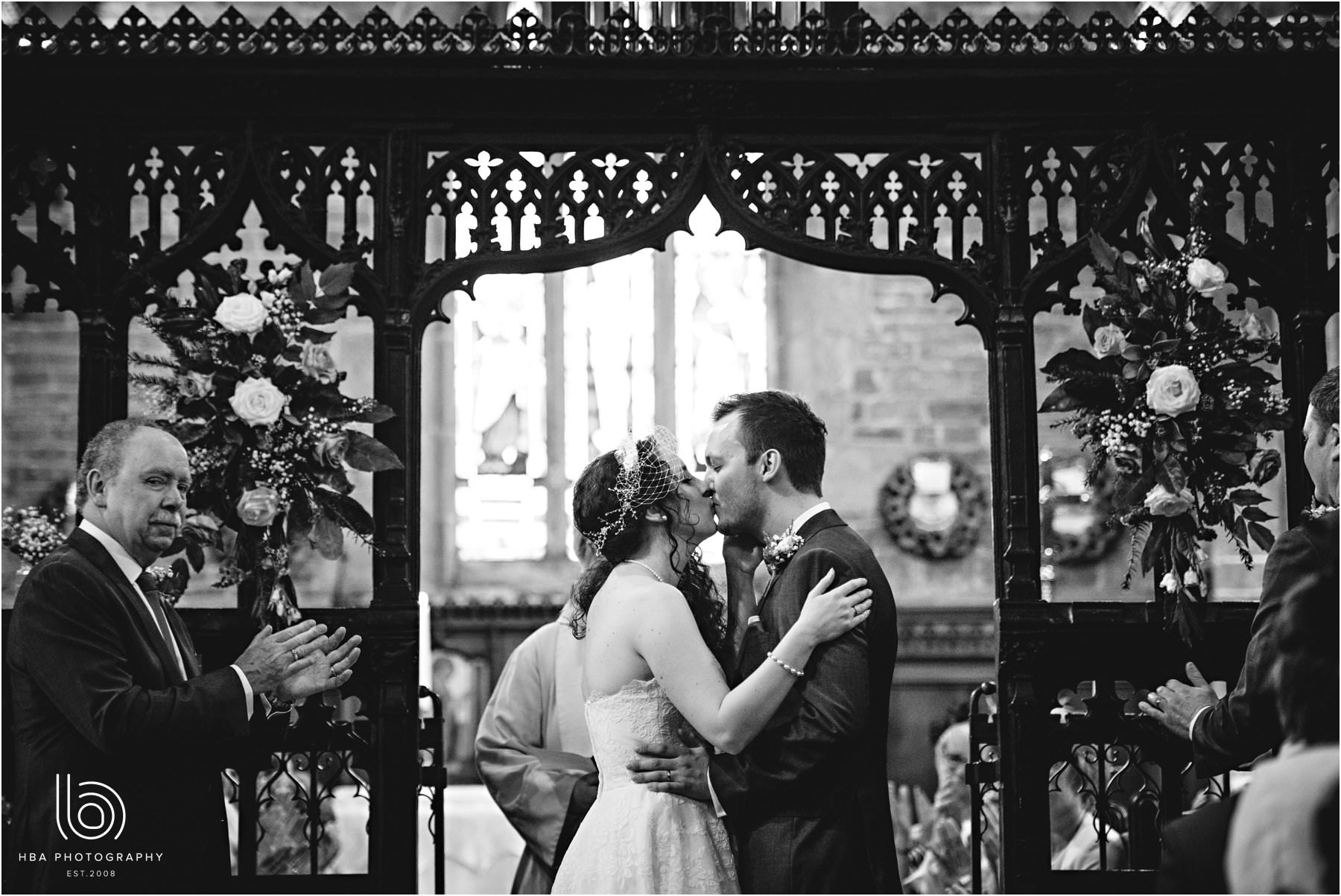 the bride and groom's first kiss