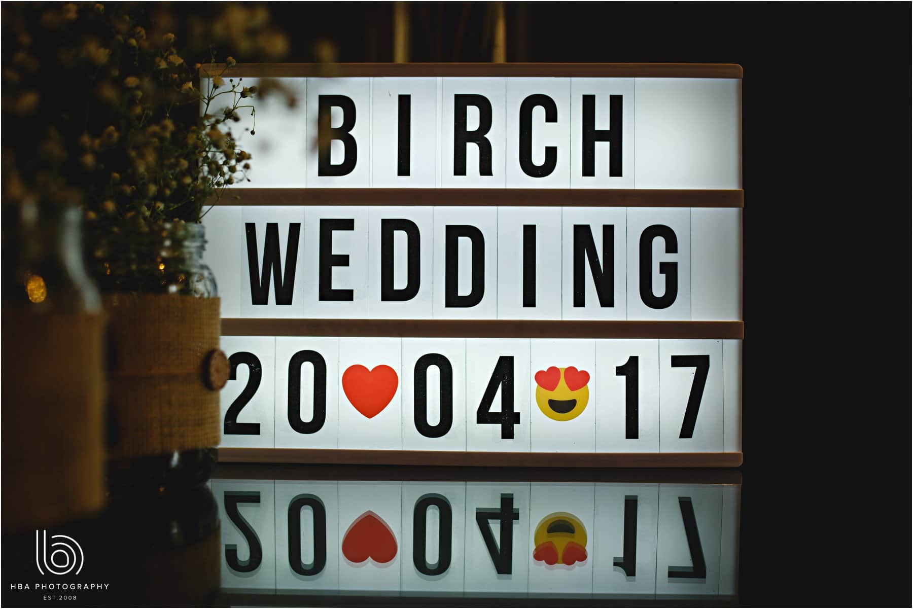 the illuminated sign for weddings