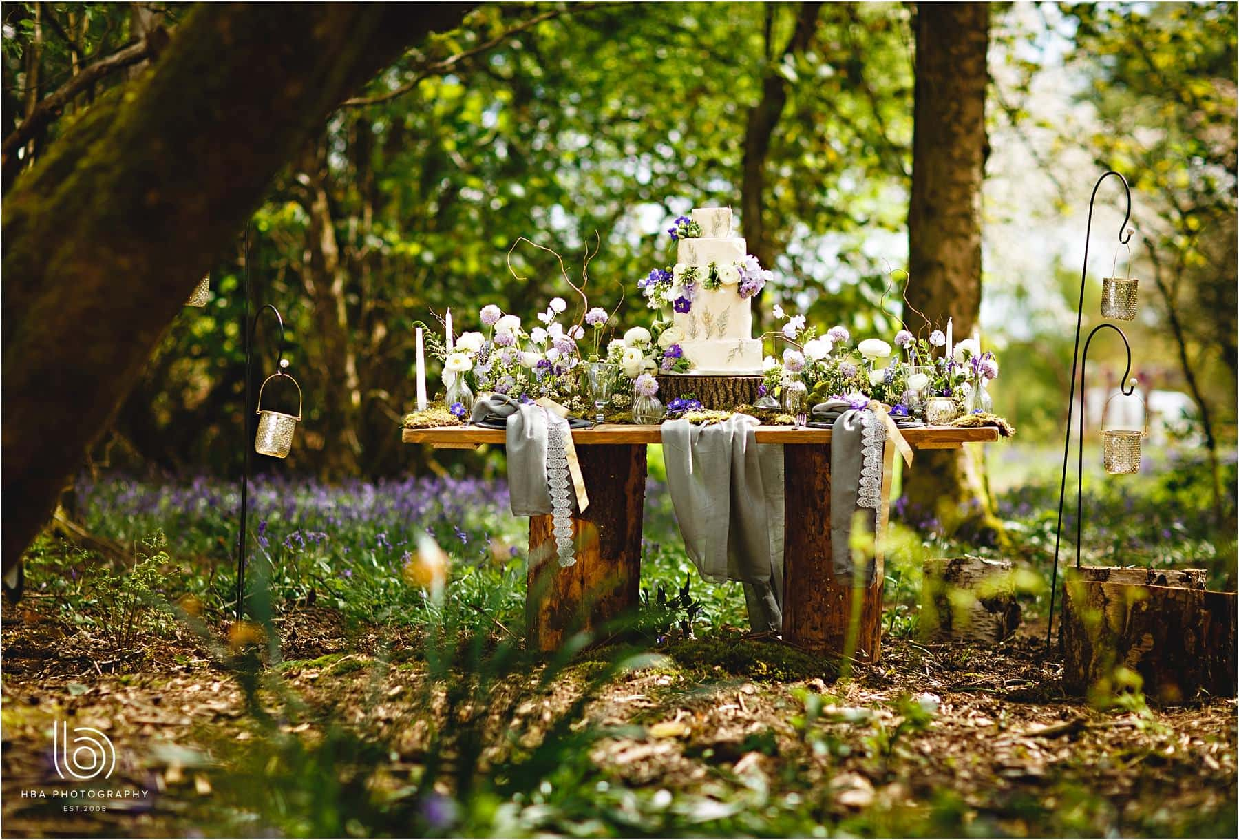 A wedding table in the woods