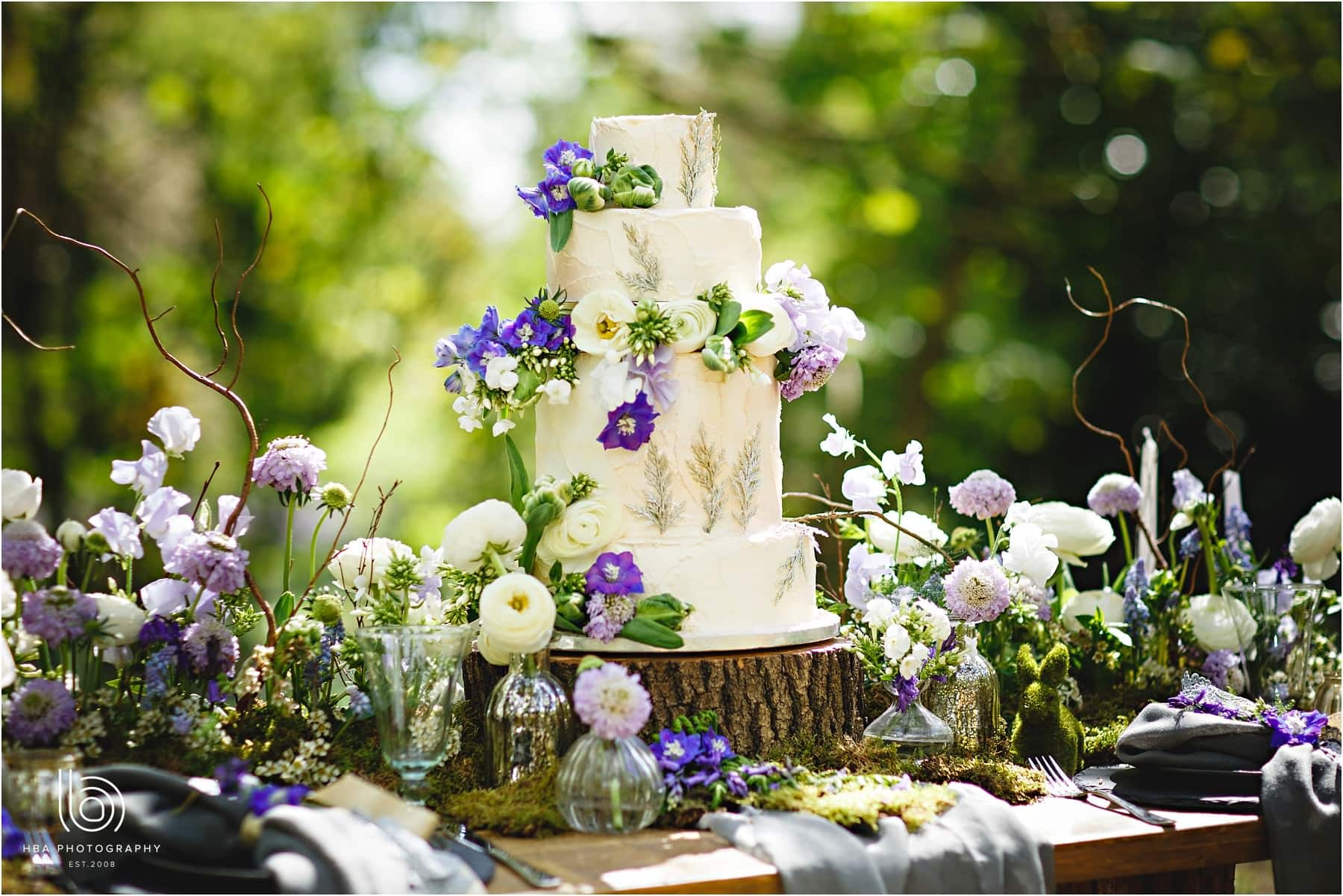 wedding cake in the woods woodland theme