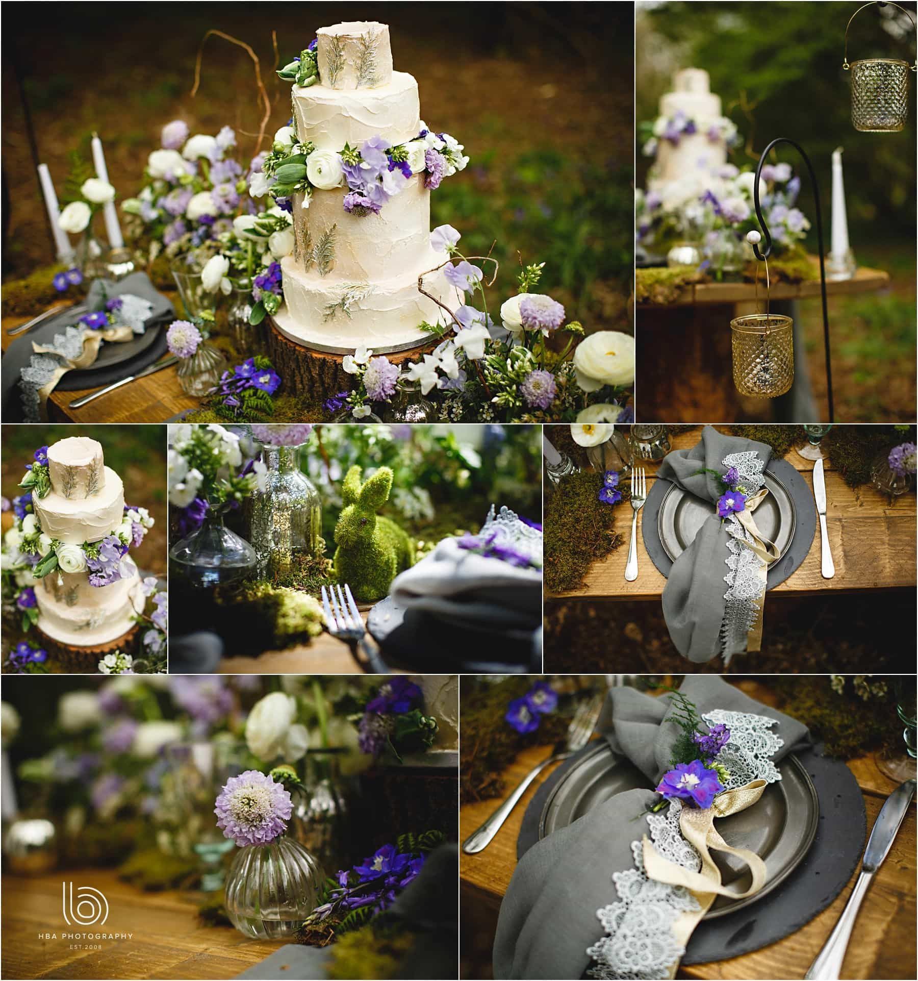 woodland wedding breakfast table details