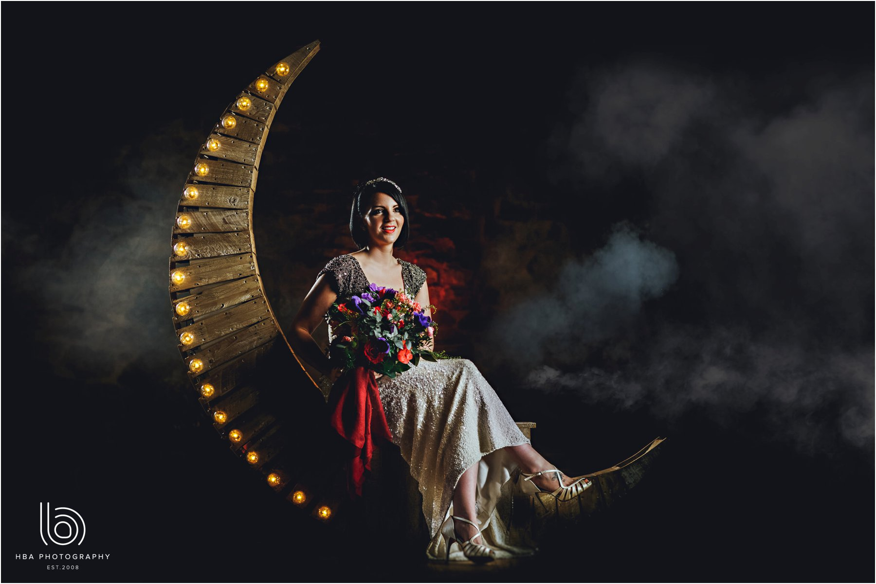Bride sitting on a moon