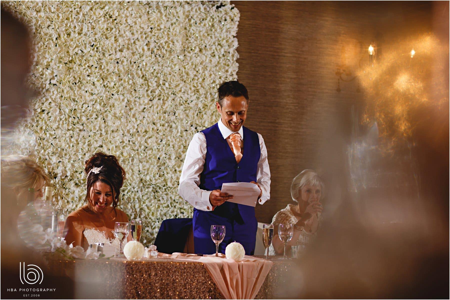 the groom doing his speech
