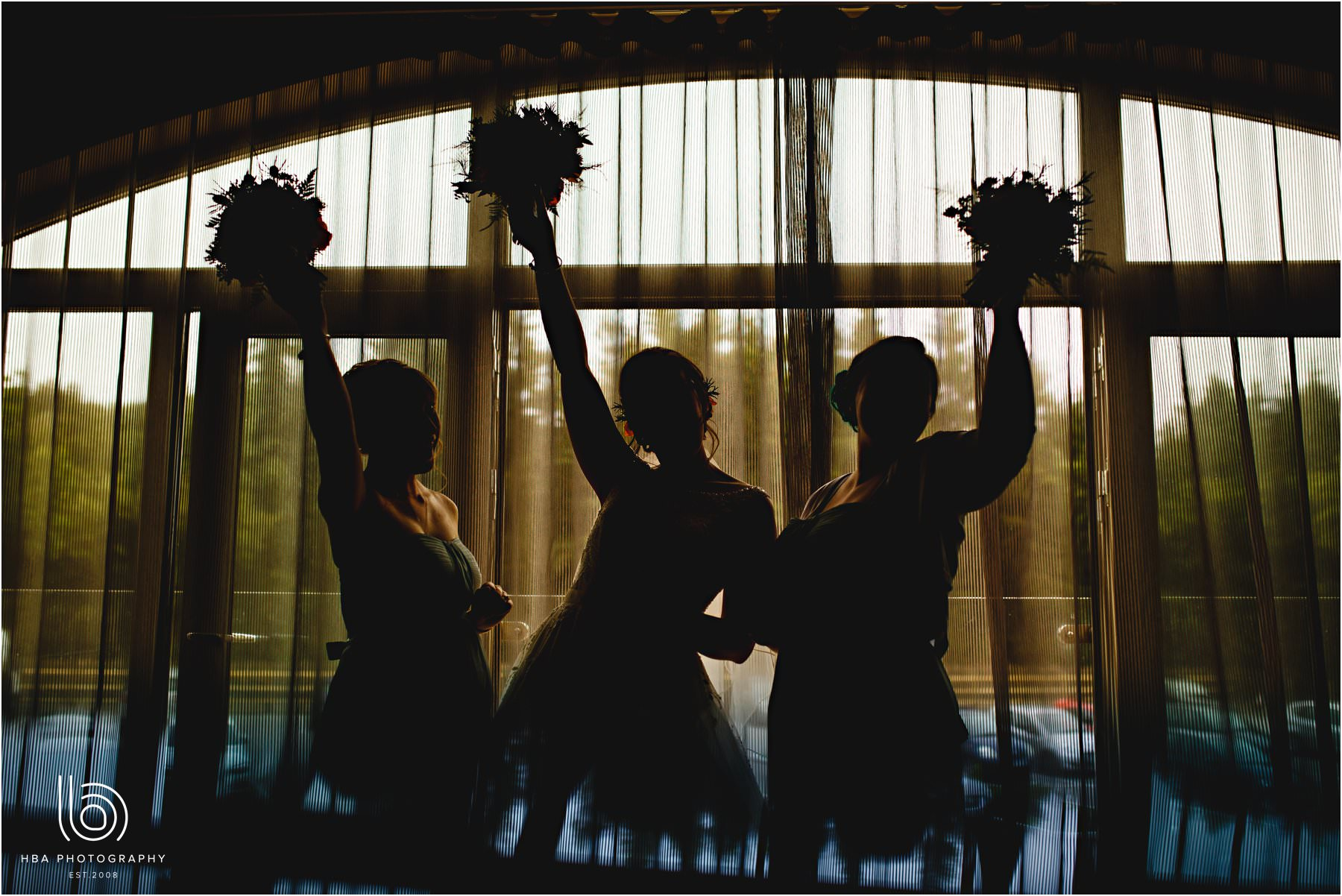 all the bridesmaids in silhouette