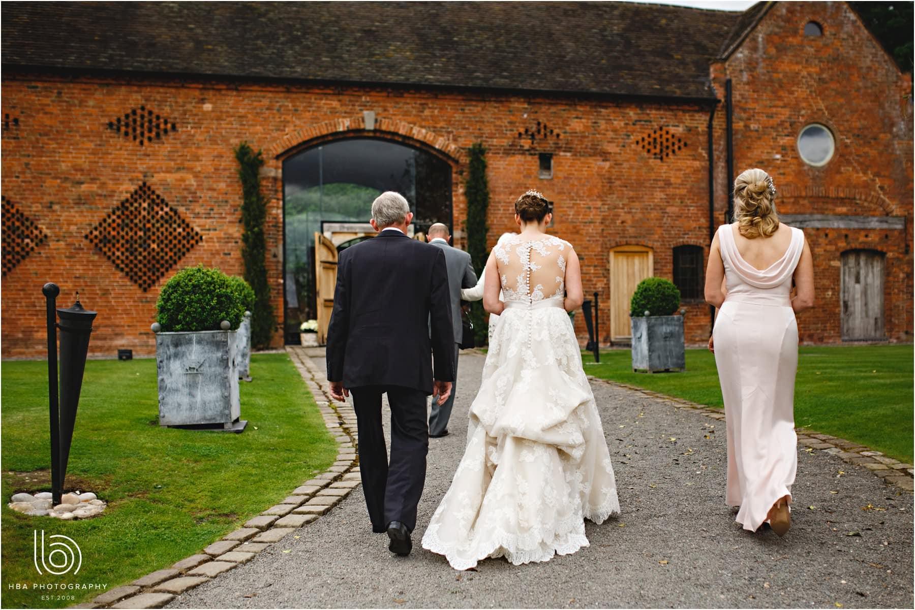 the bride arriving at shustoke