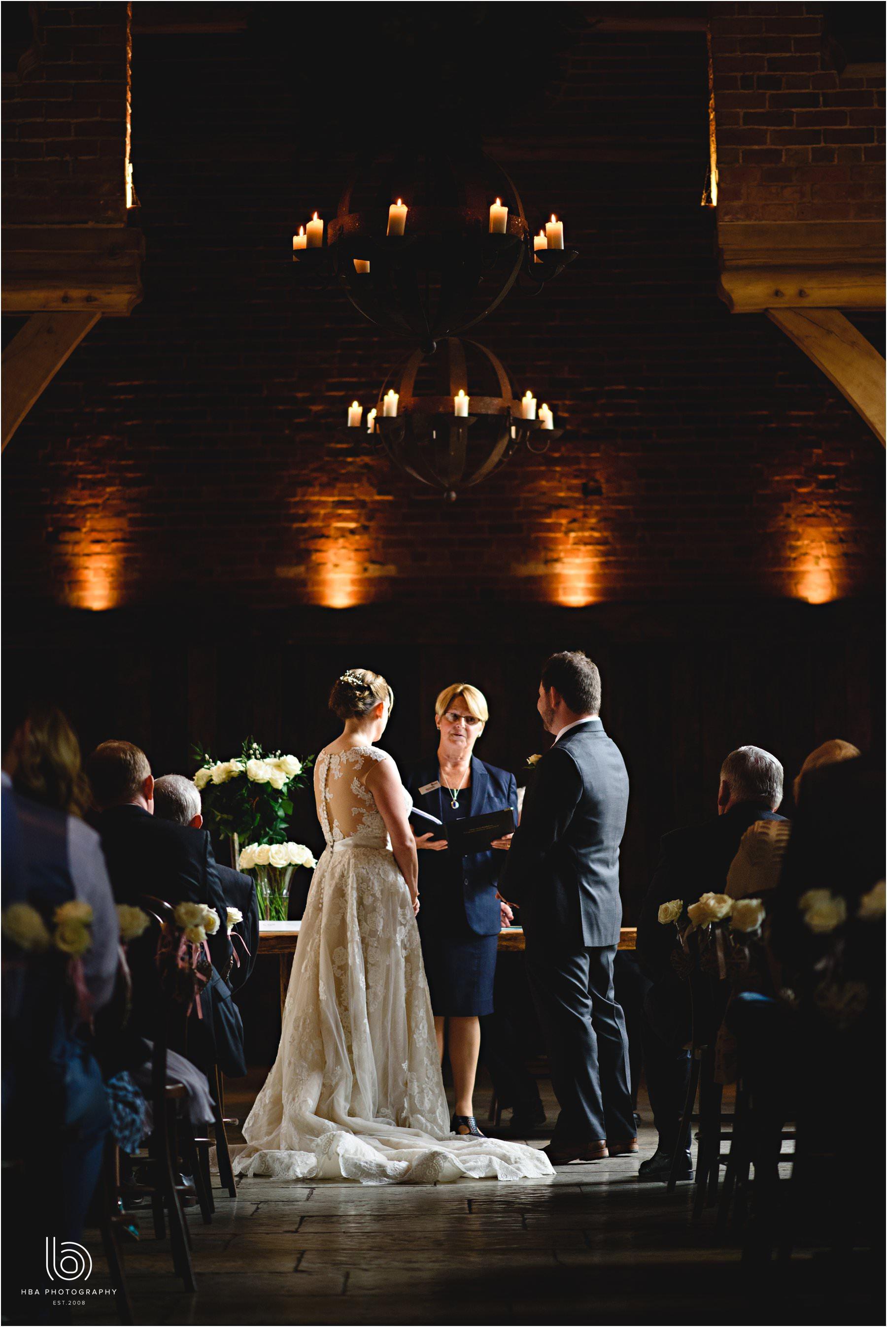 the wedding ceremony at Shustoke Farm Barn