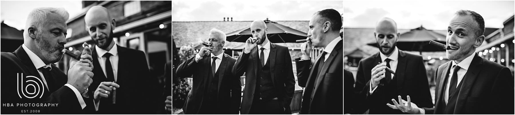 the groom and his men with cigars