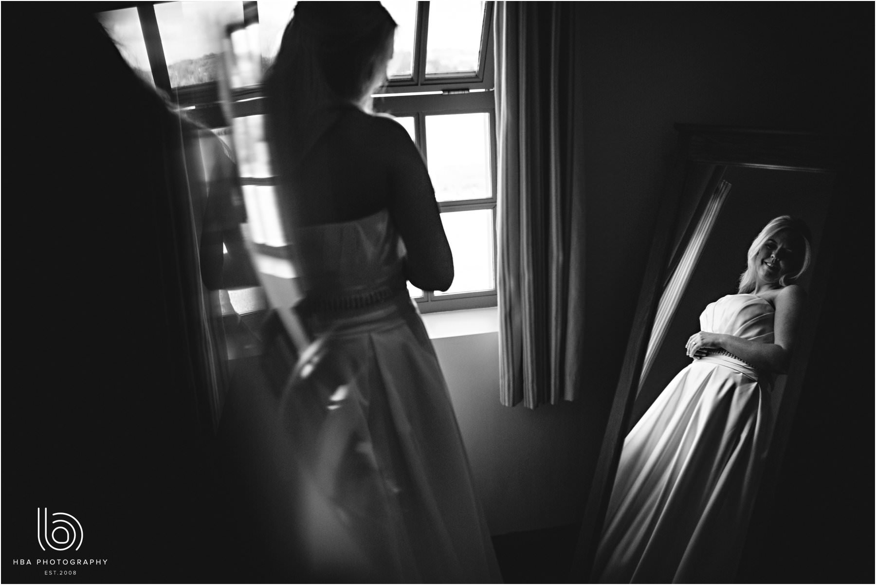 The bride looking out the window