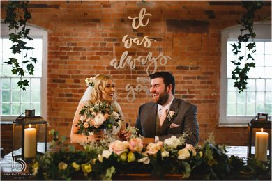 the bride & groom signing the register