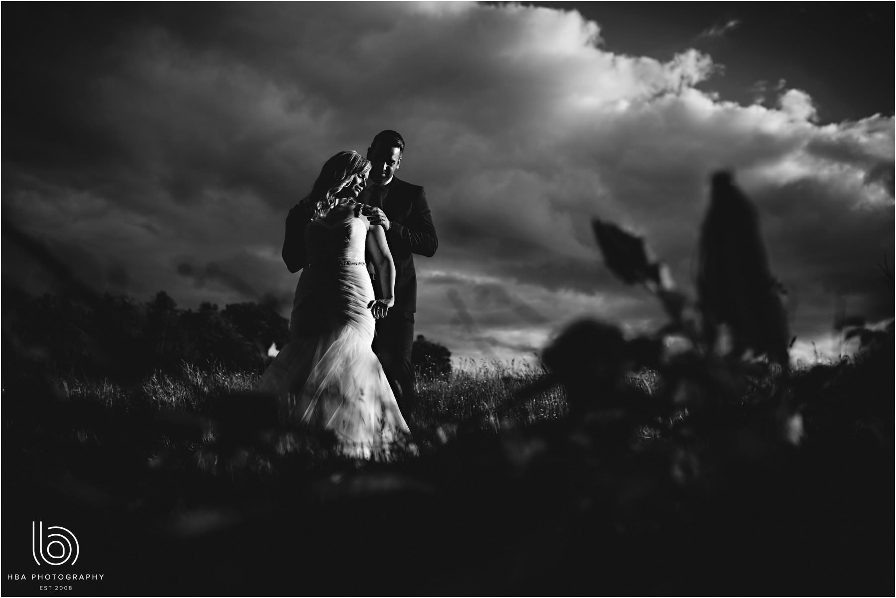 The bride & groom in B&W