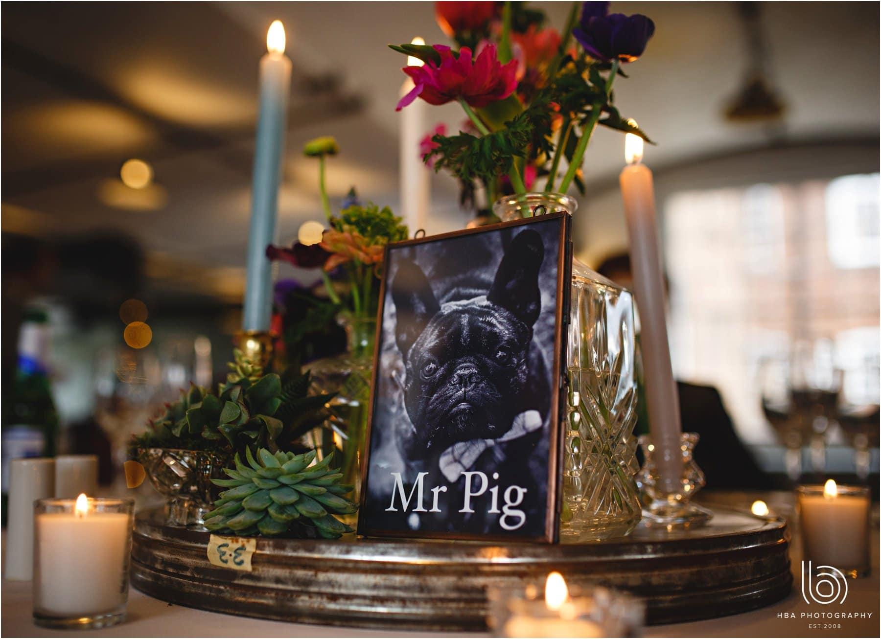 Wedding styling french bulldog
