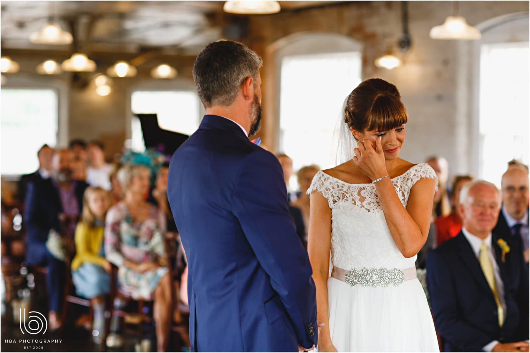 the bride's tears during the ceremony
