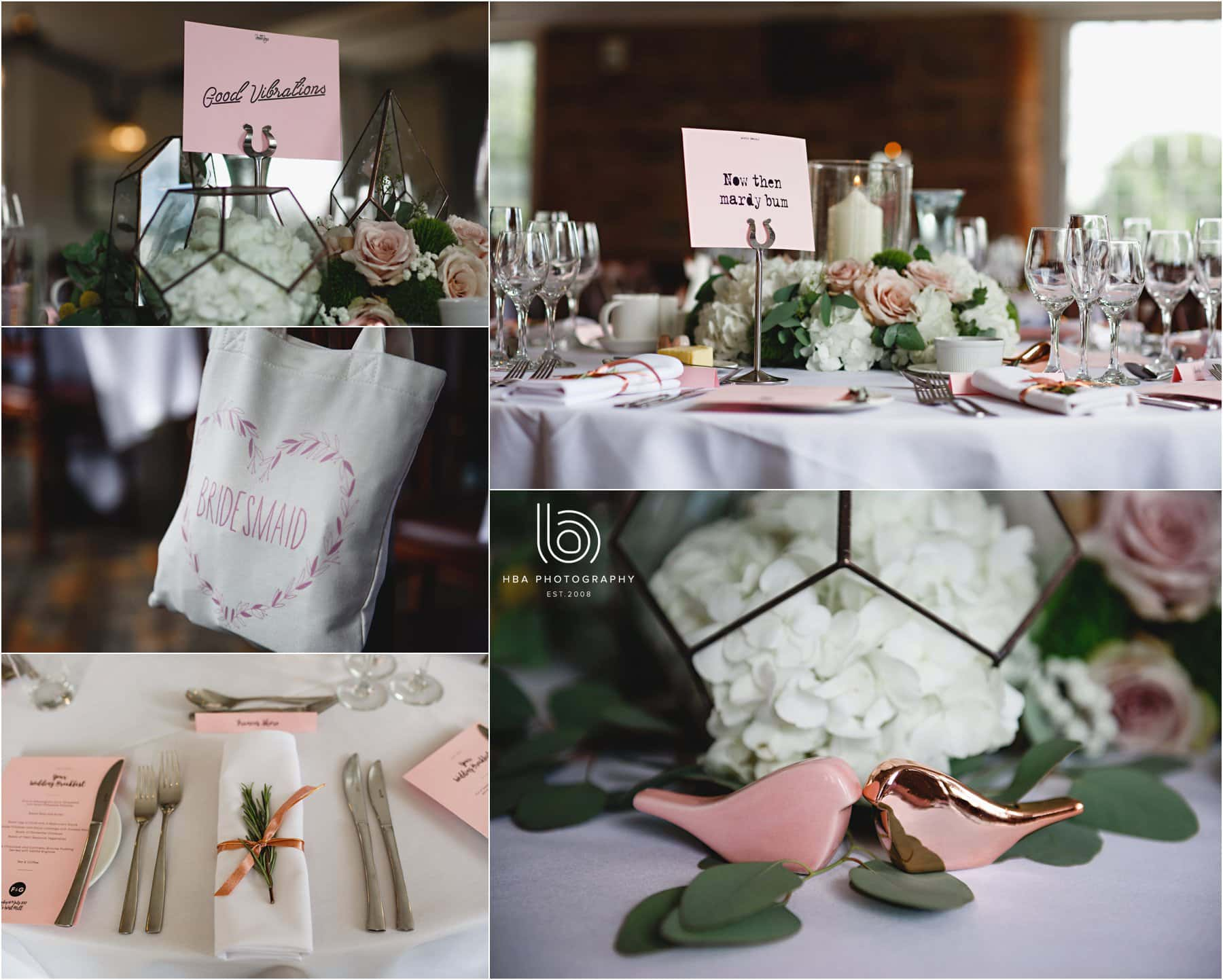 the detail in the wedding breakfast room