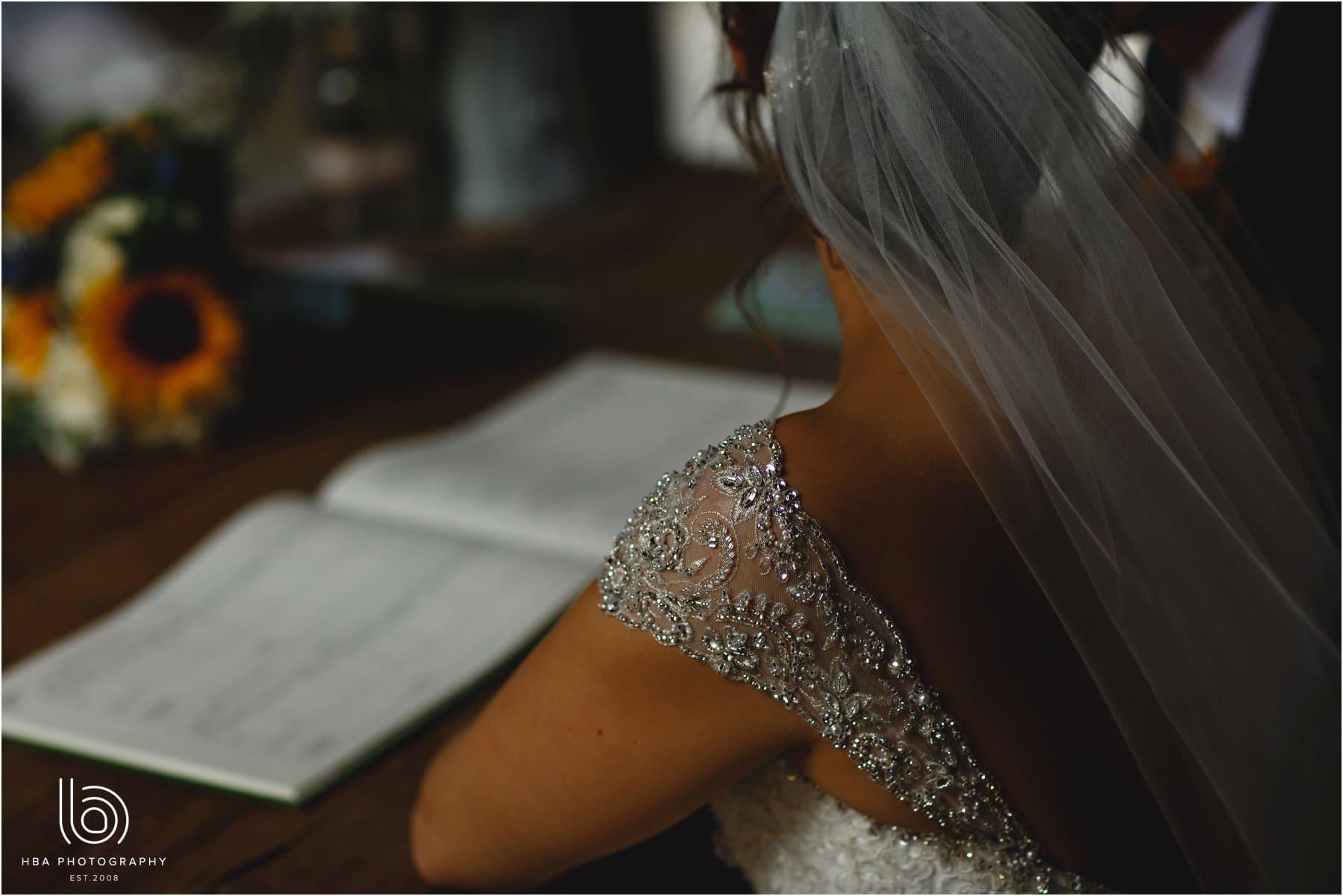 the shoulder detail on the bride's dress