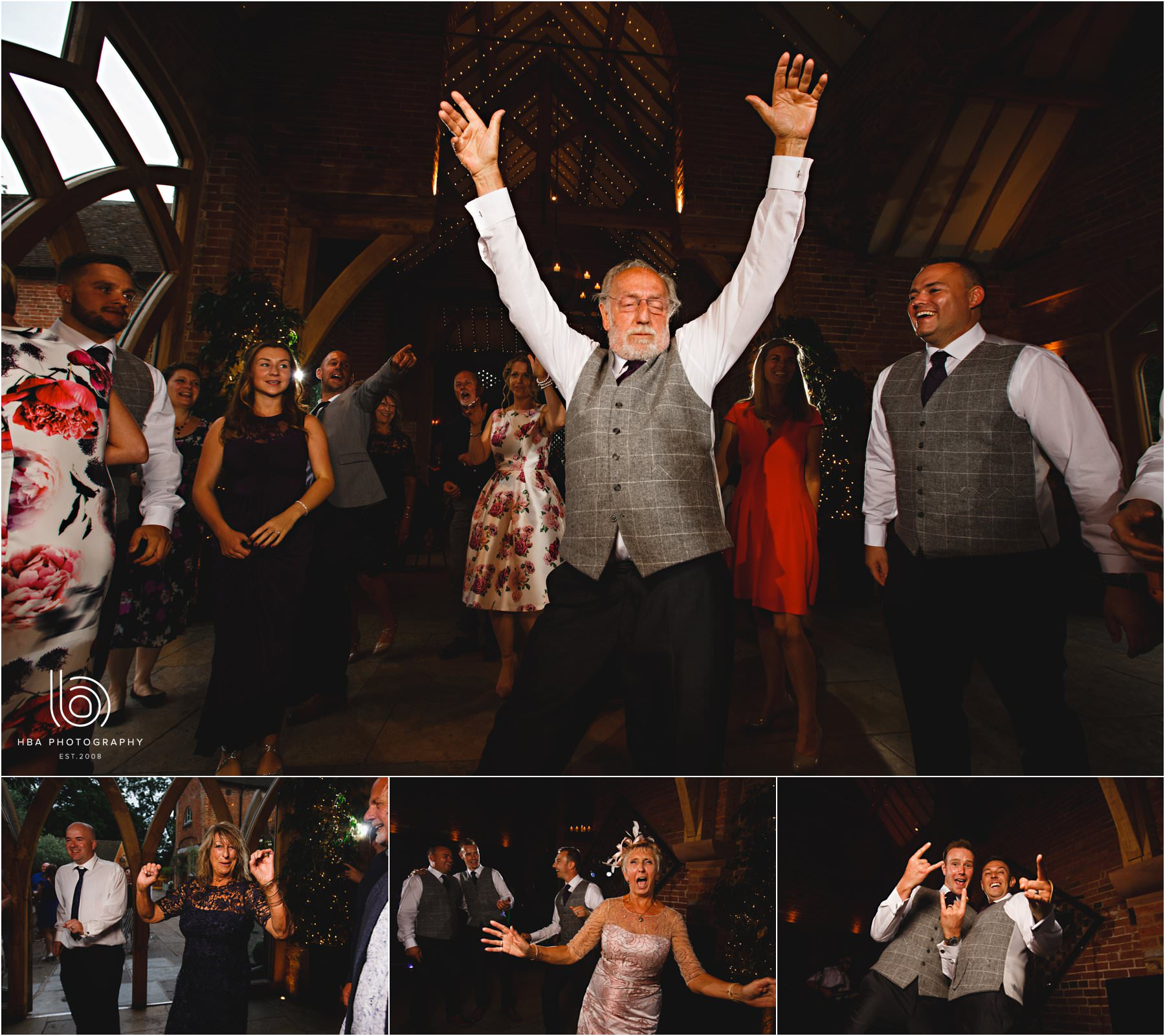 wedding guests dancing at Shustoke