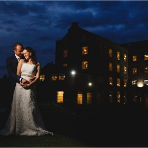 the bride & groom at night