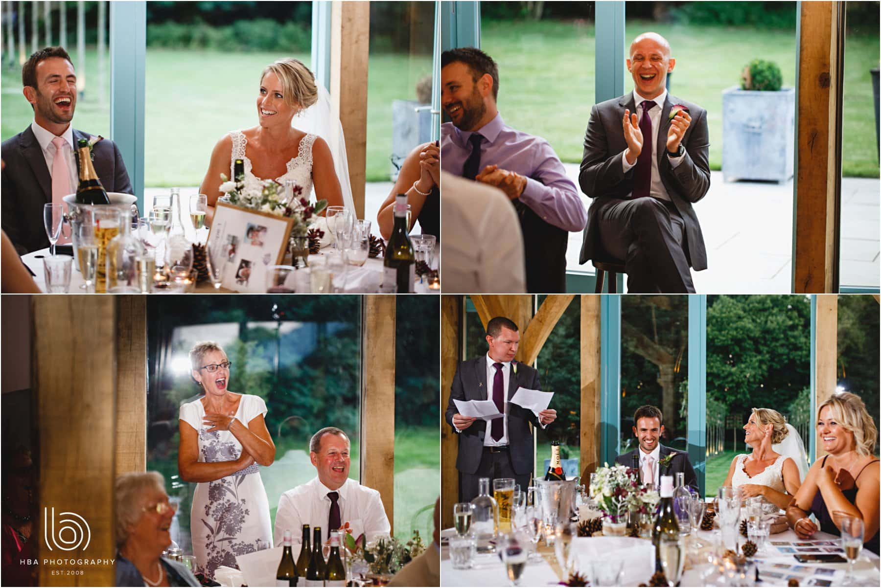 the wedding speeches at Hazel Gap