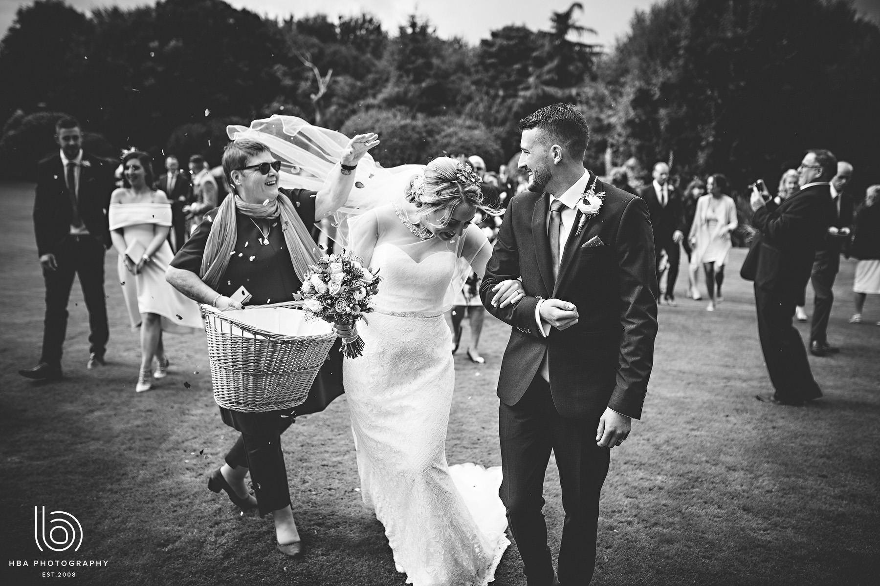 bride & groom with confetti