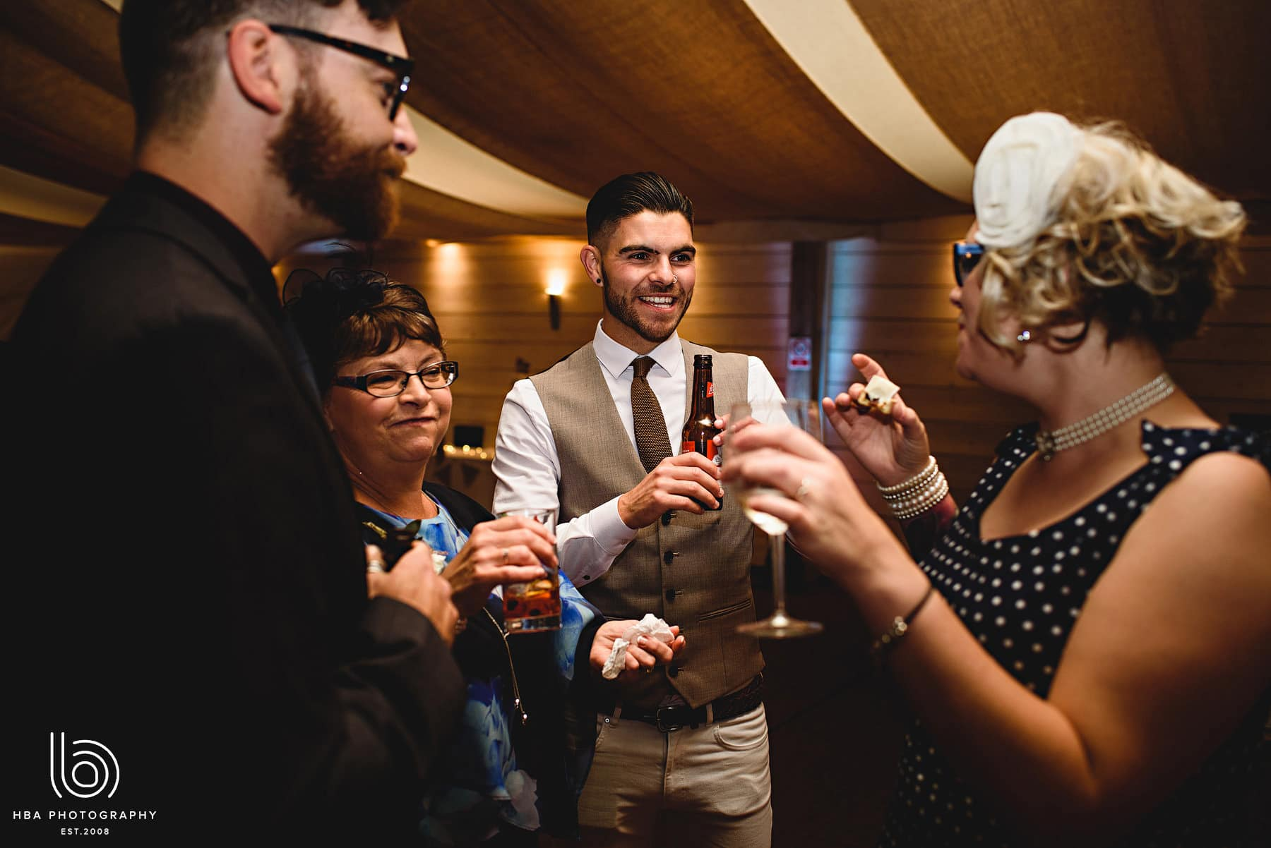wedding guests cheers