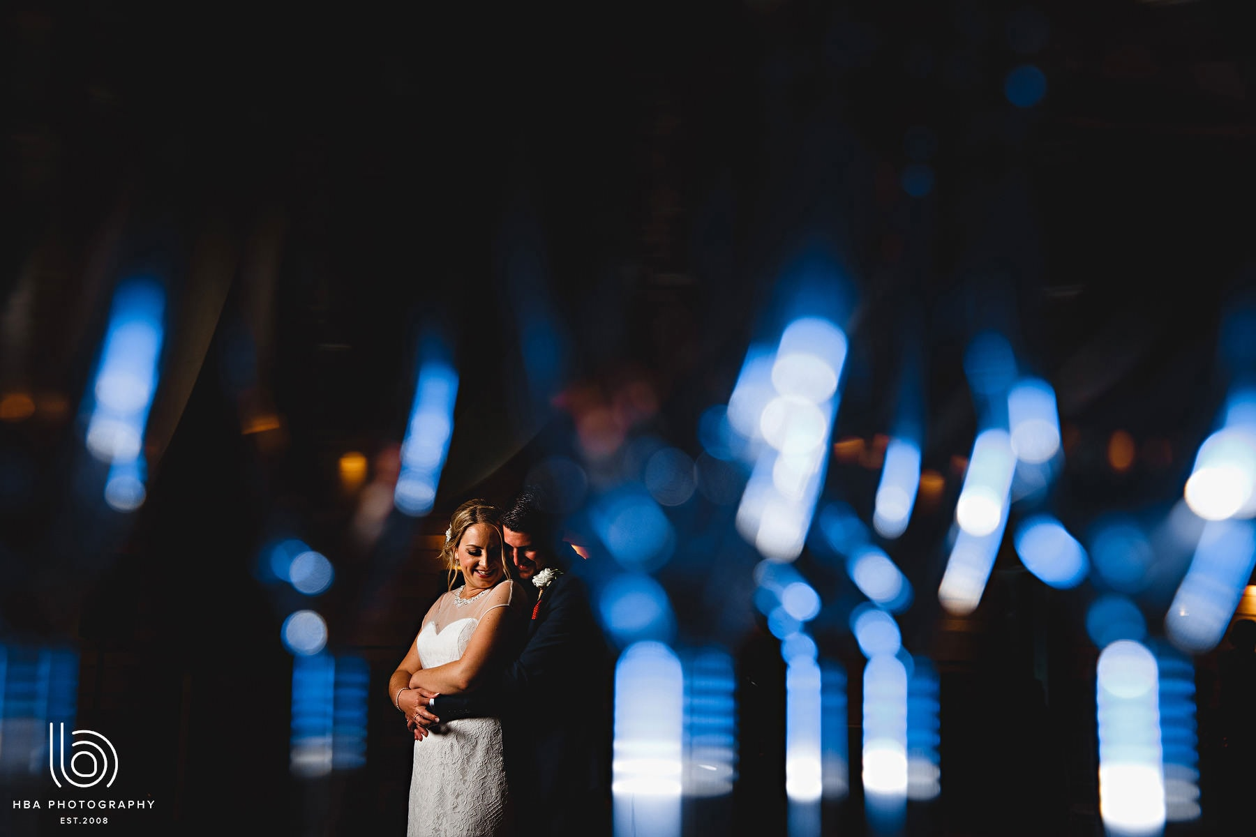 bride & groom in blue