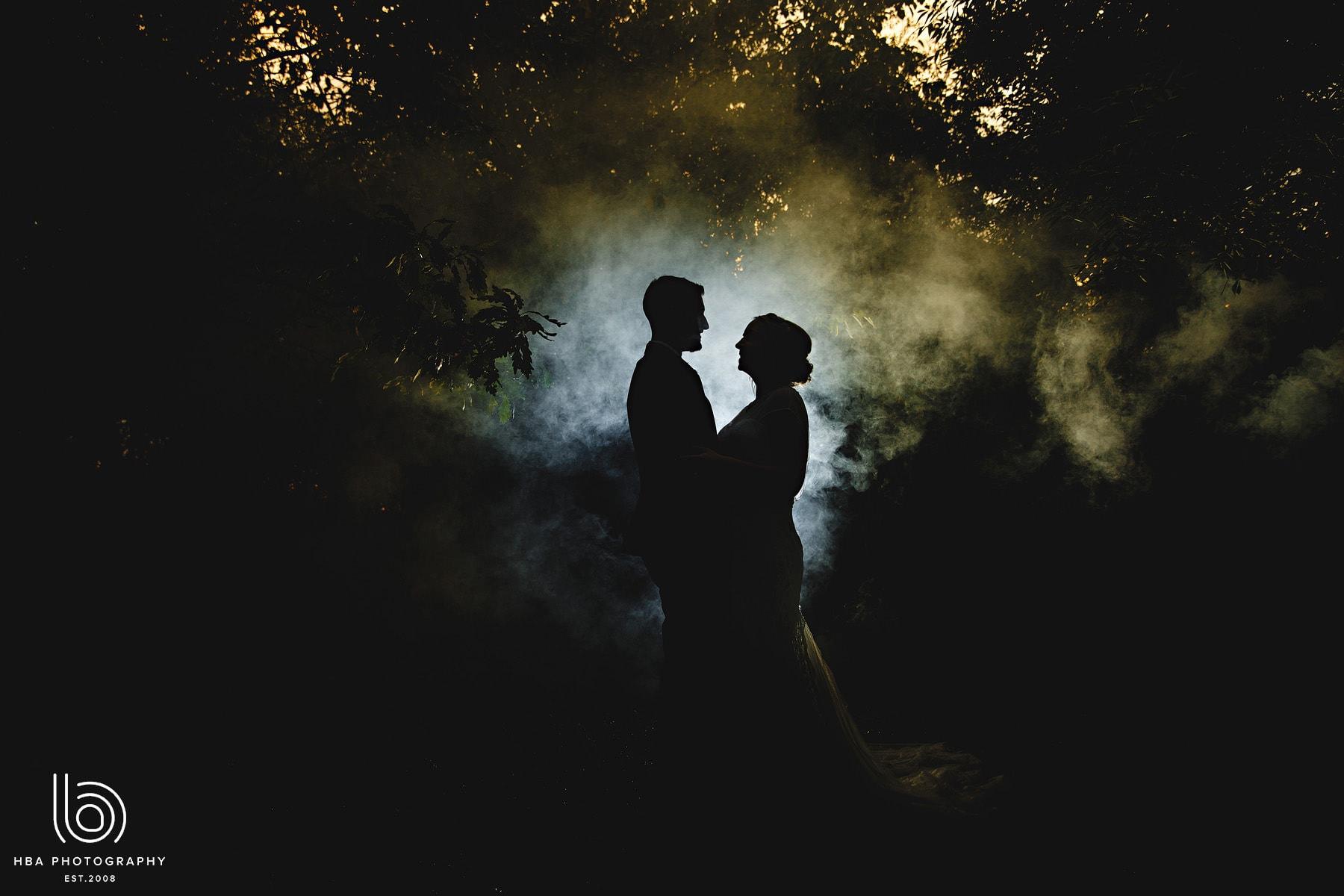 bride & groom in the mist