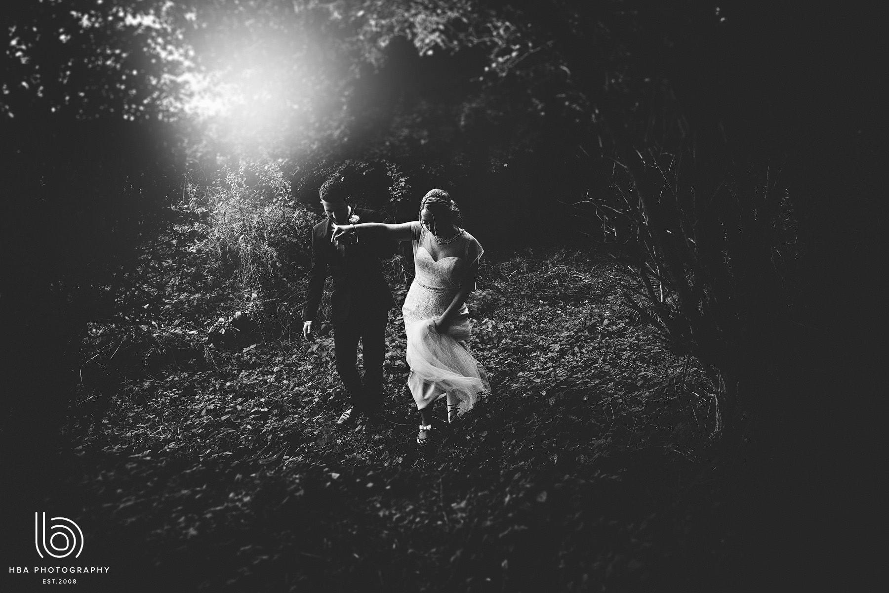 bride & groom walking at night