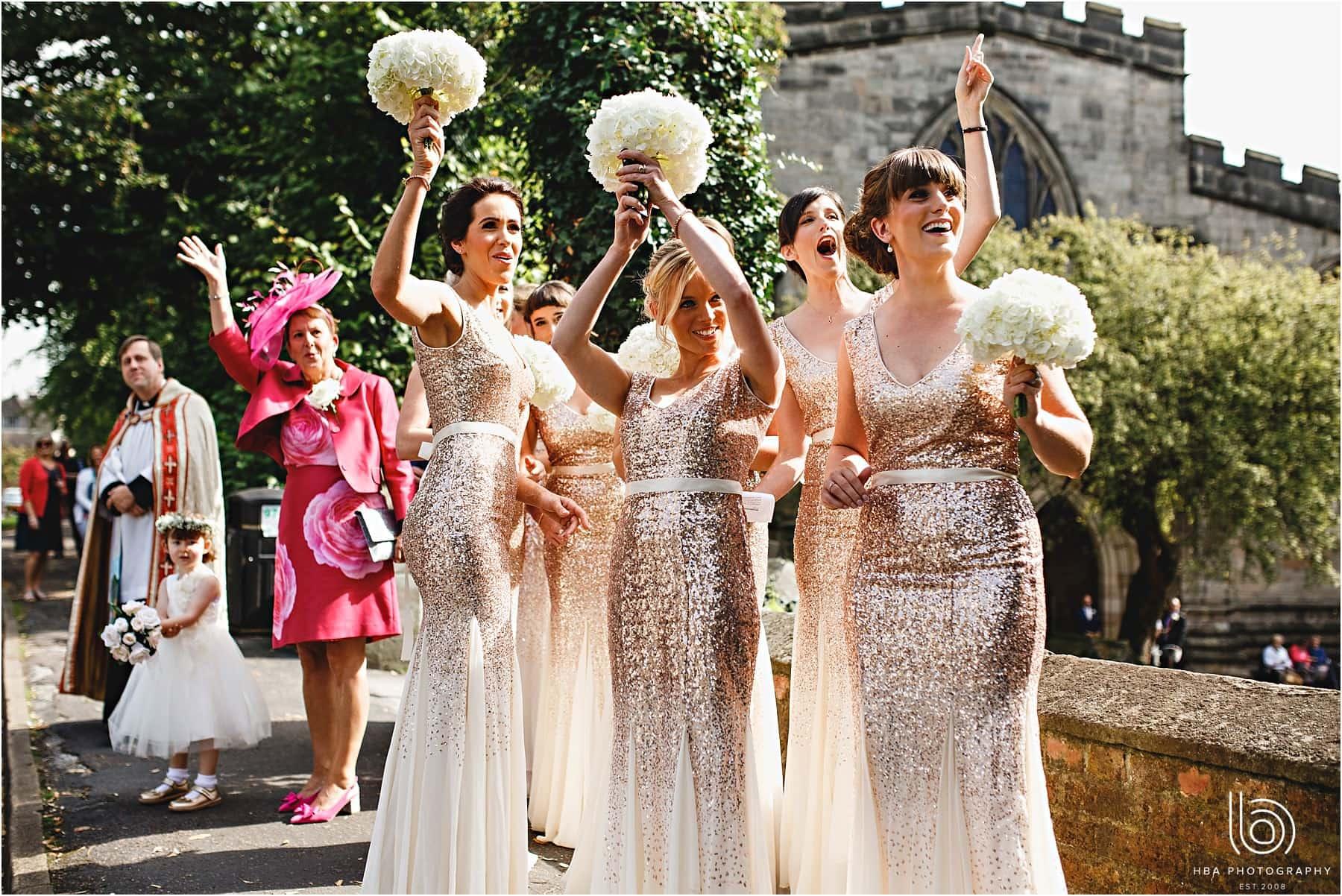 the bridesmaids cheering