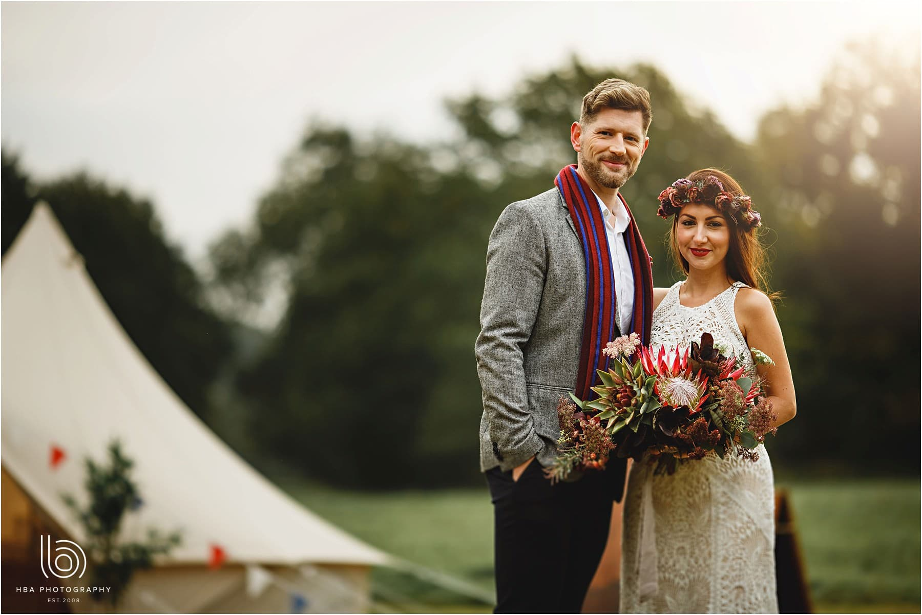 a glamping villiage at a tipi wedding
