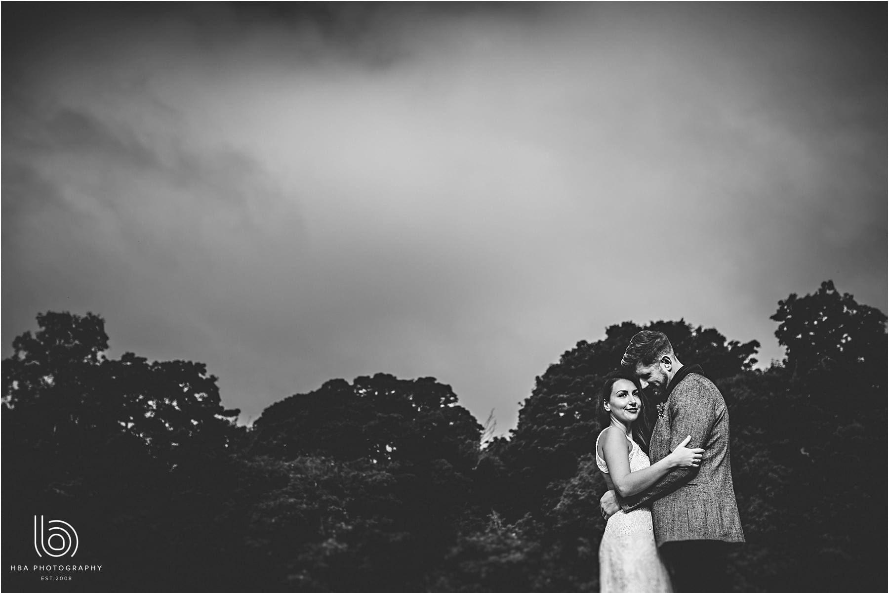 Black-and-white photo of the bride and groom together