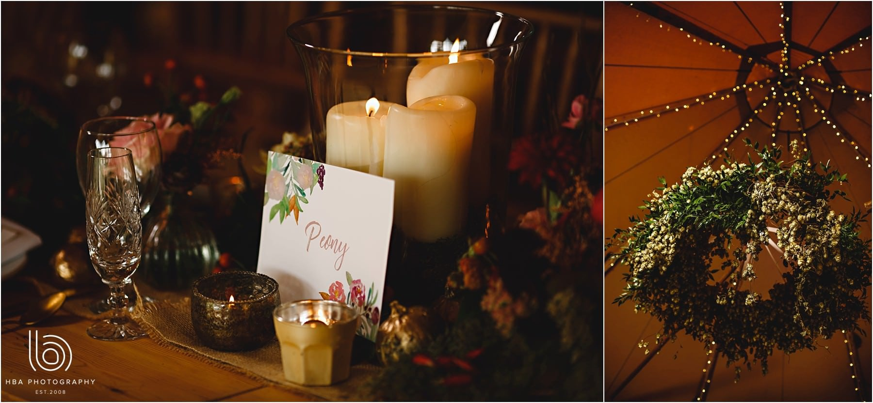 Candlelit wedding decorations