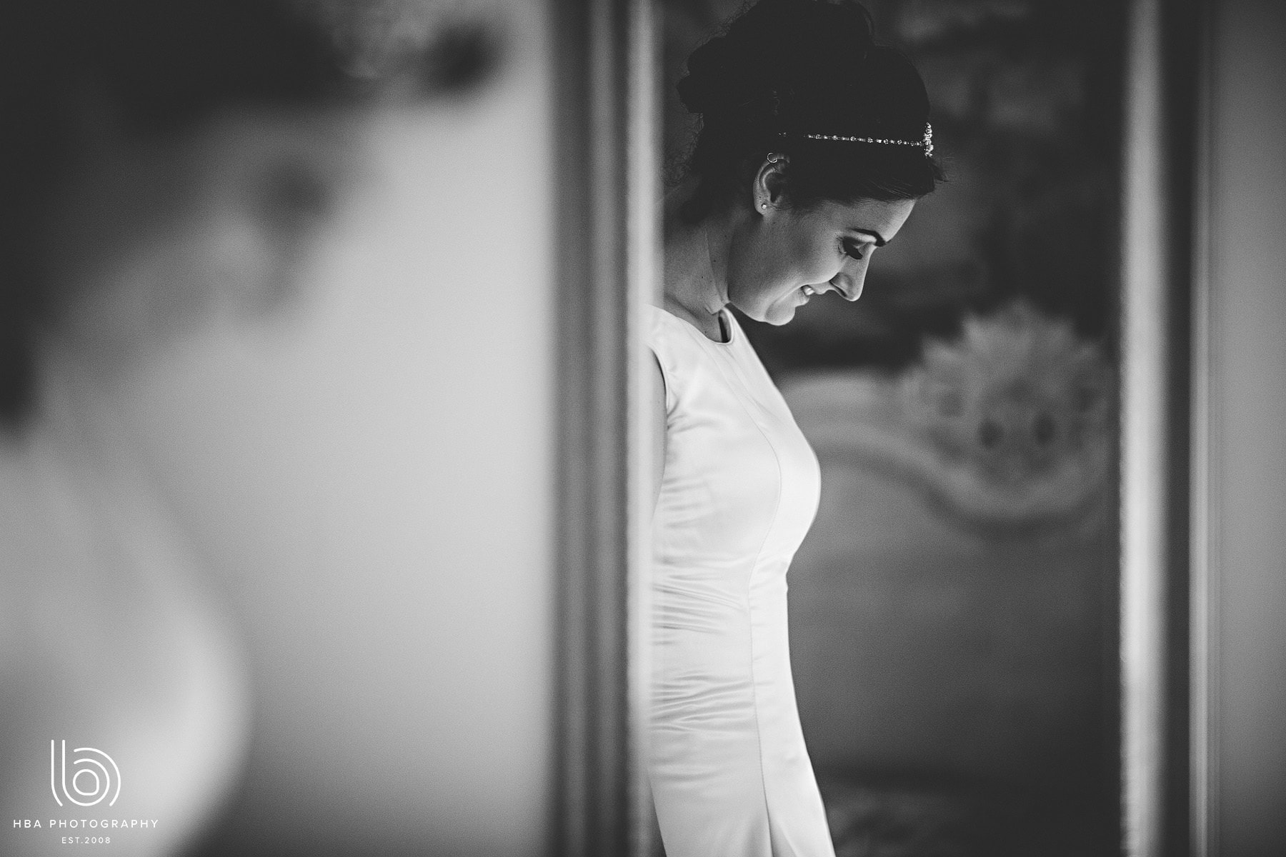 the bride looking down