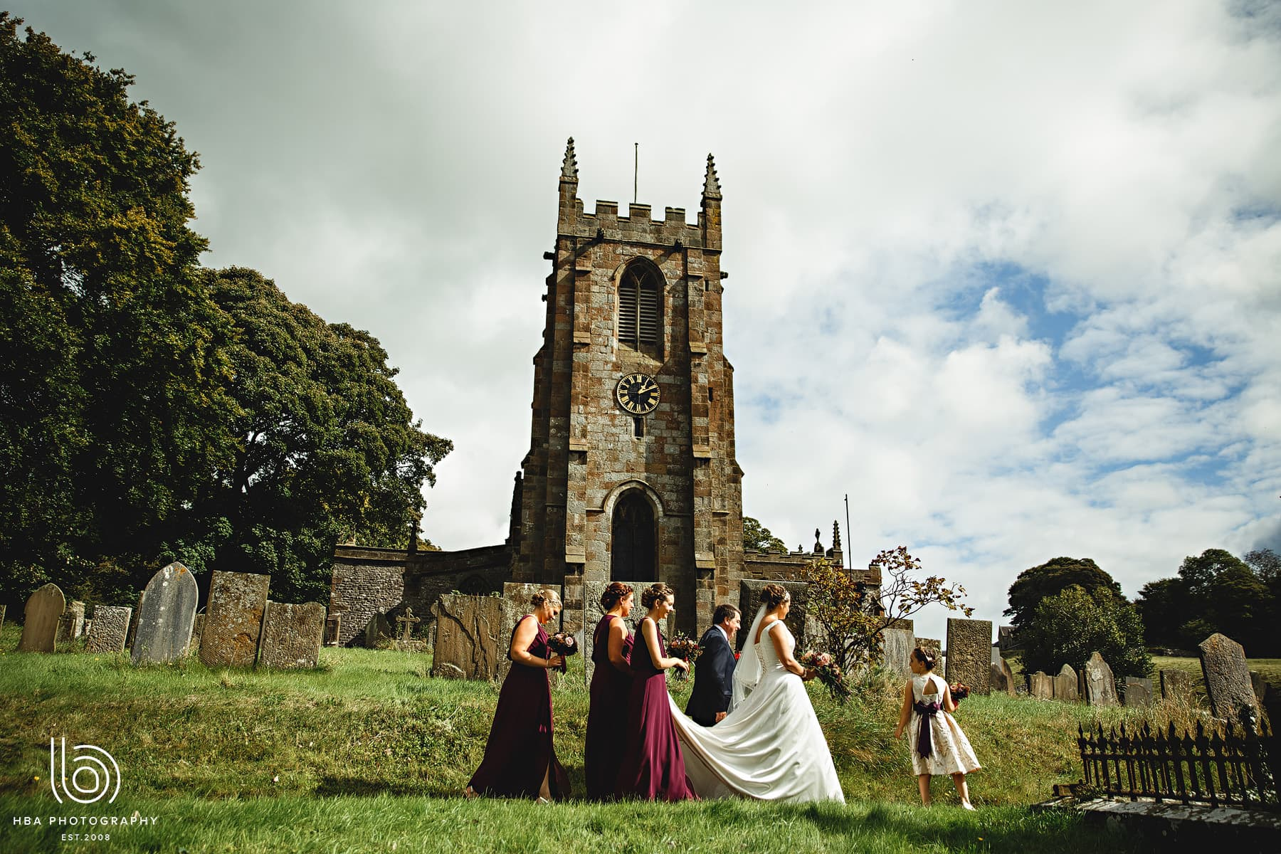 the bride arriving at the church in Hartington