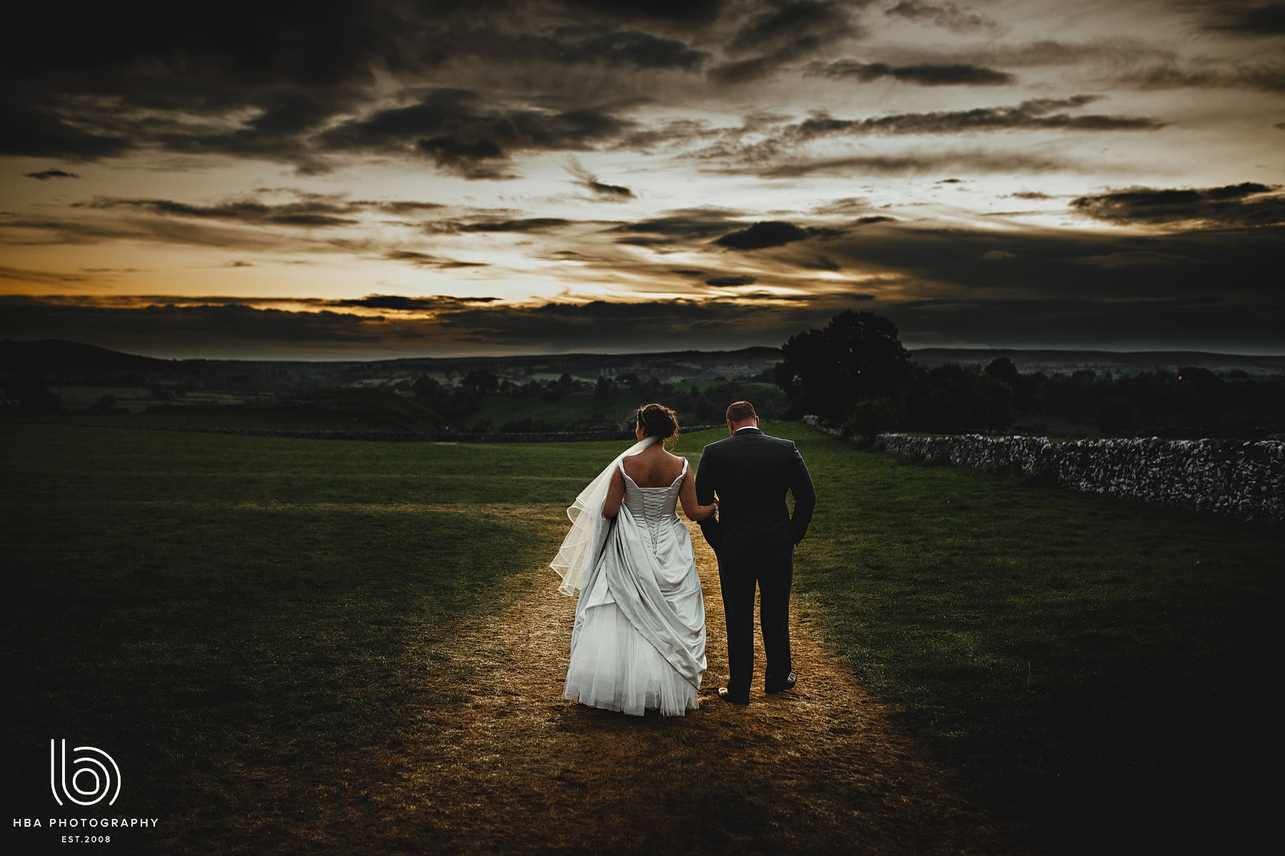 the bride & groom at sunet
