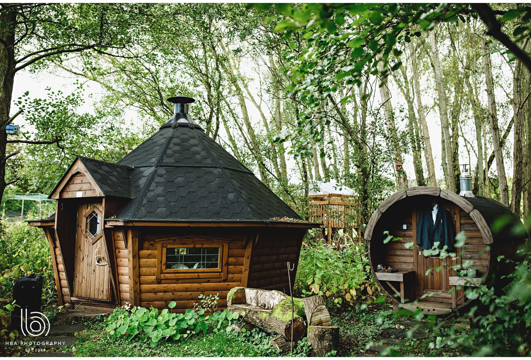 The BBQ hut in the garden
