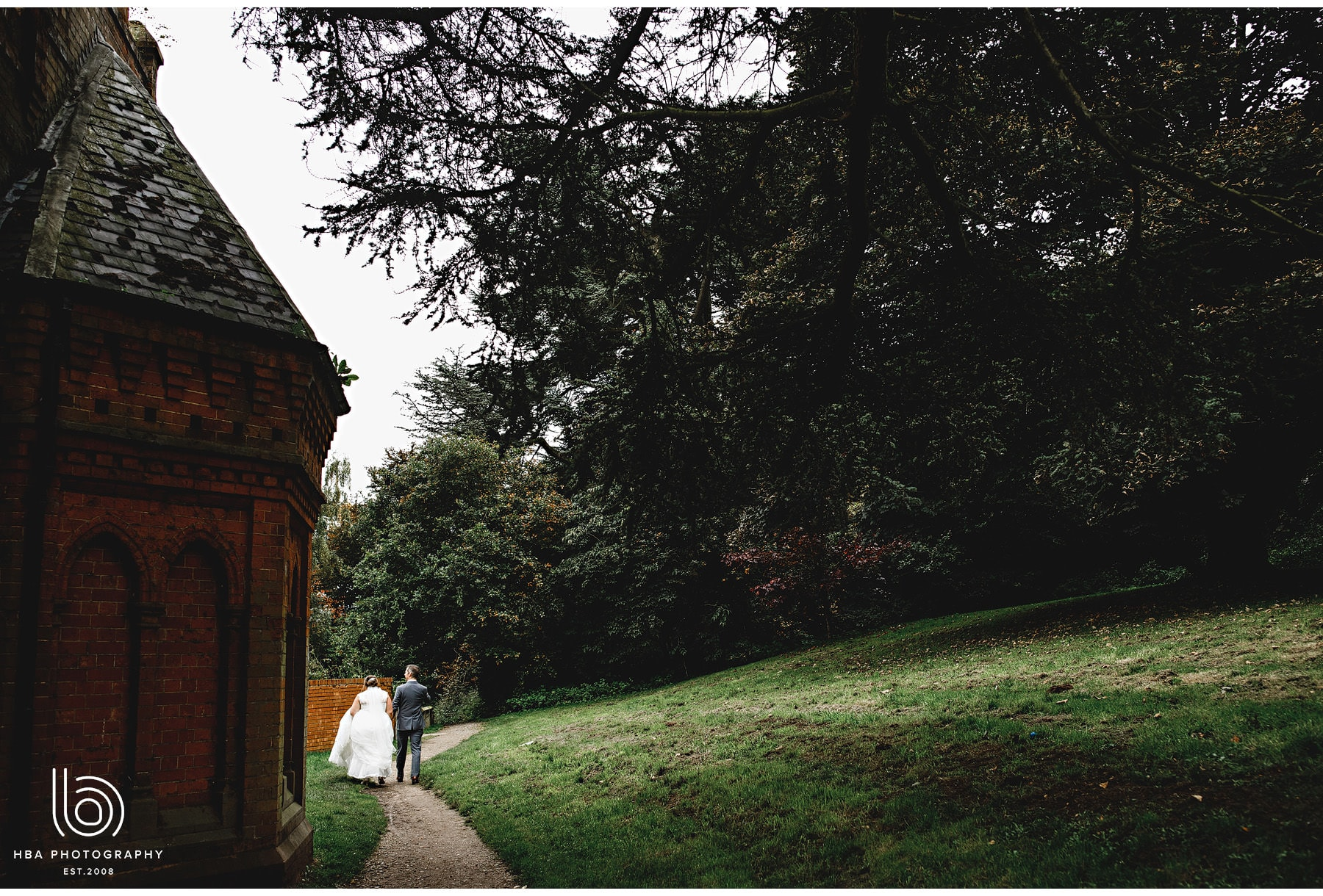 the bride & groom walking