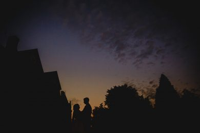 the bride and groom at sunset at Bestwood Lodge