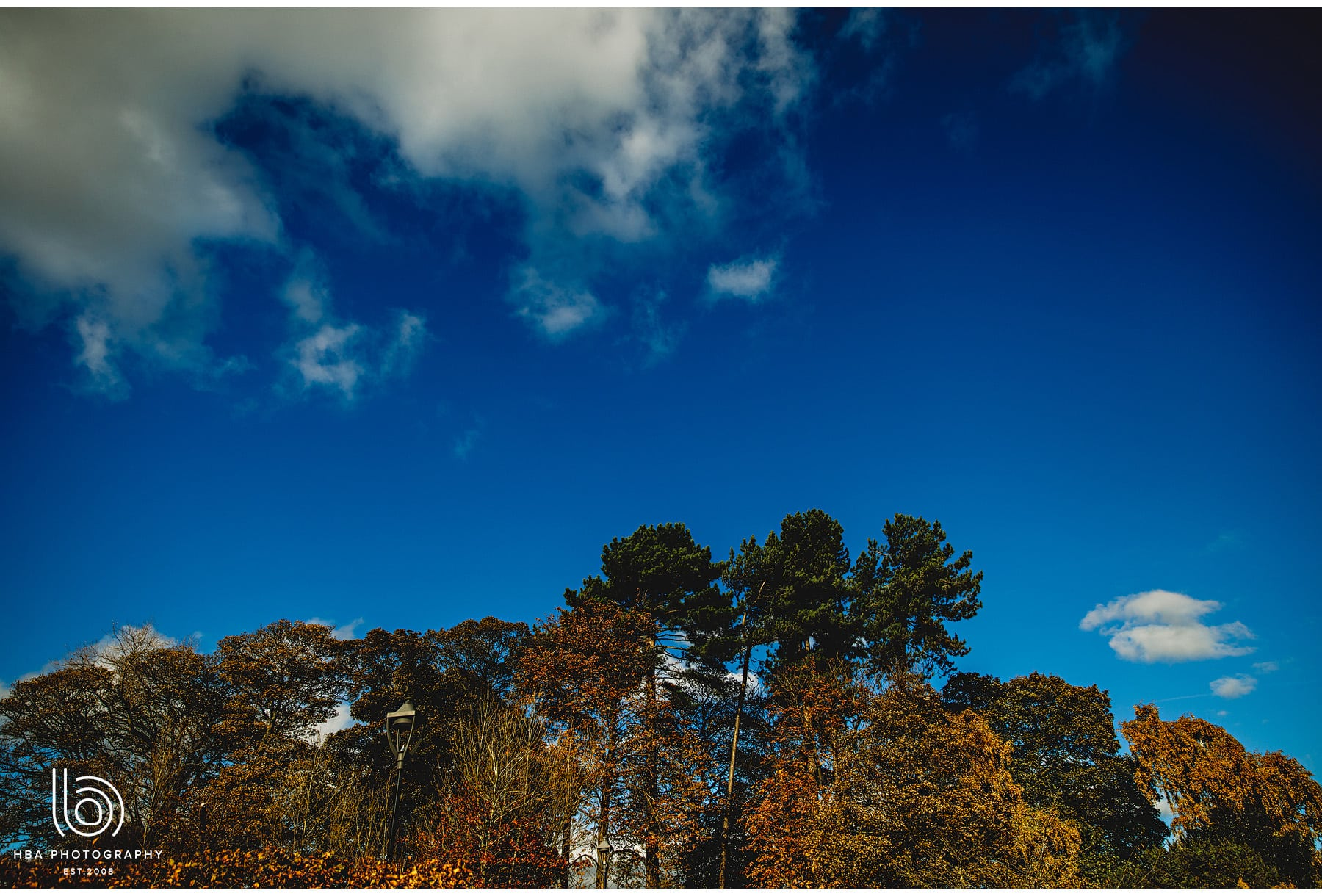 a beautiful blue sky in Autumn
