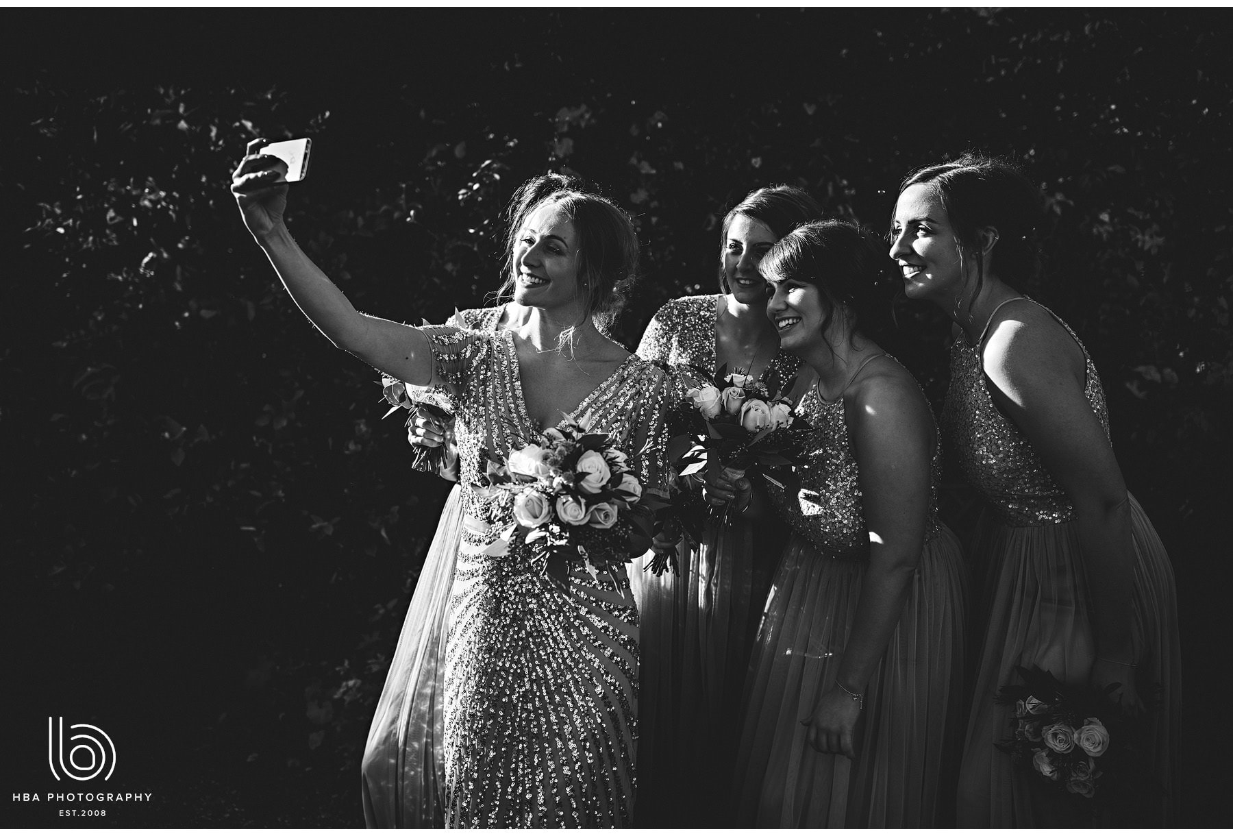 the bridesmaids talking a selfie