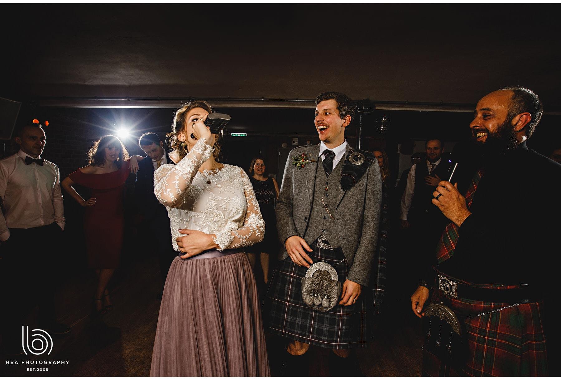 the bride having a shot