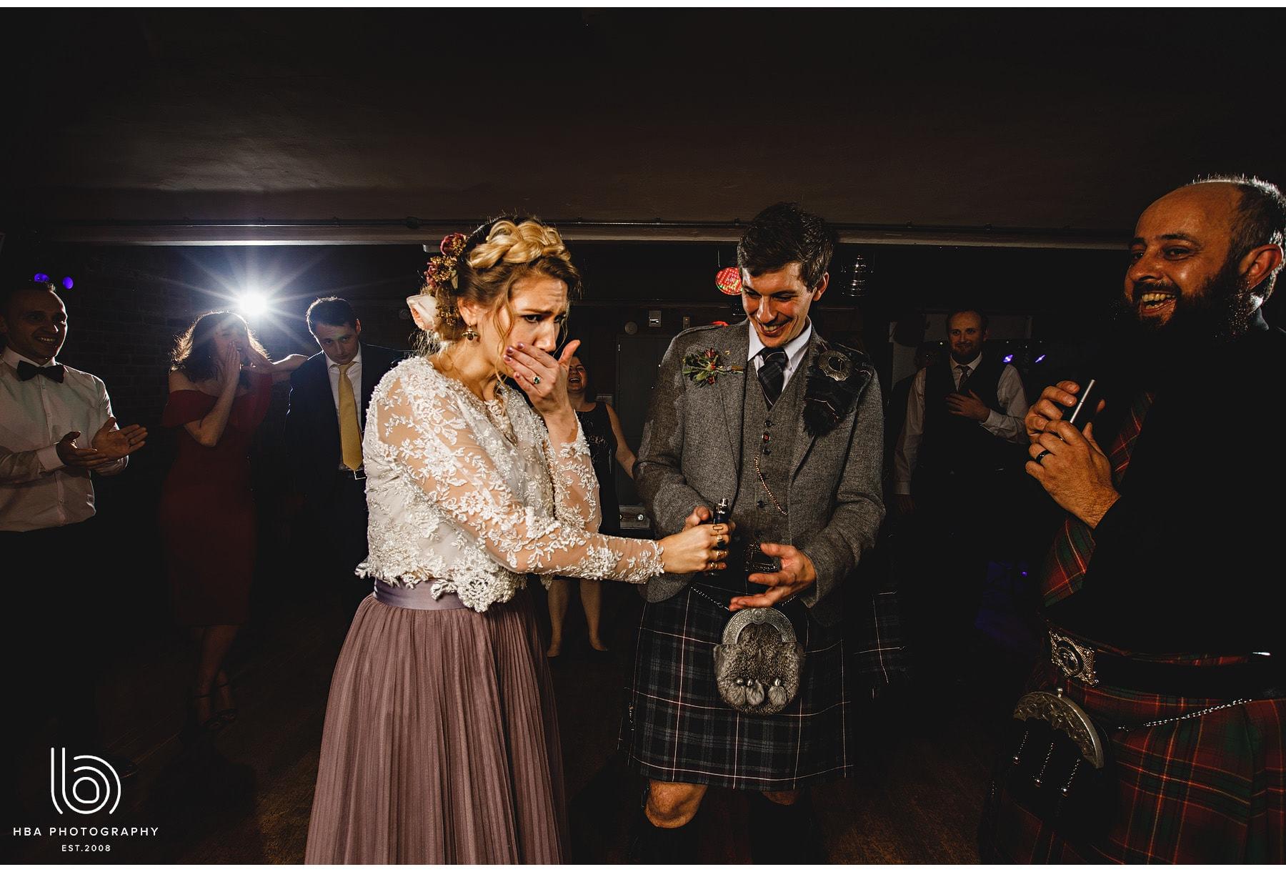 the bride having having a shot