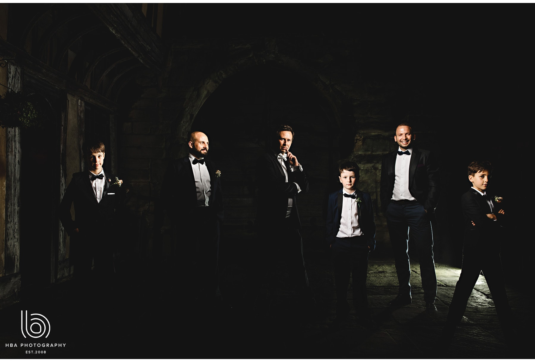 the groom and his groomsmen outside the venue