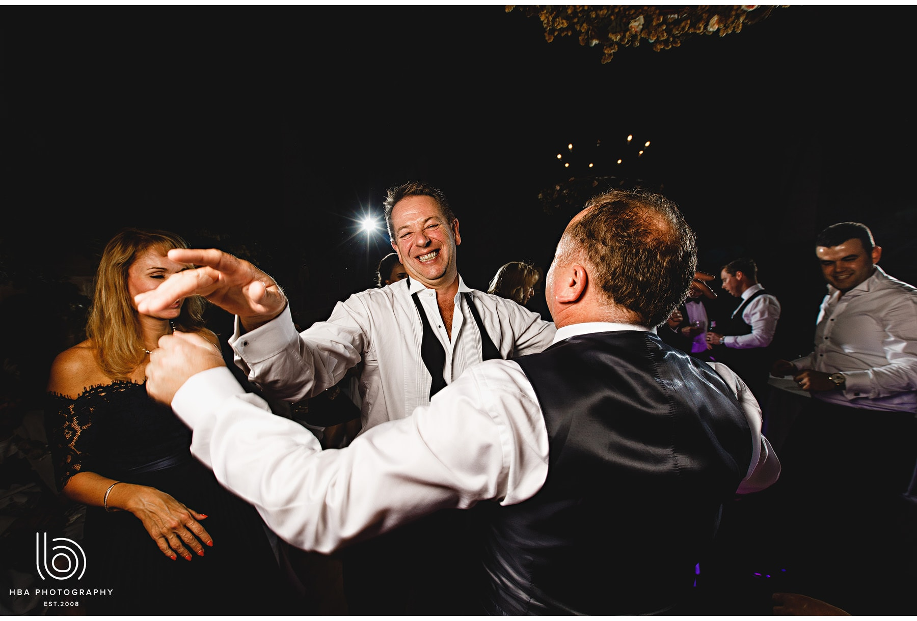 wedding guests dancing at the lord leycester hospital
