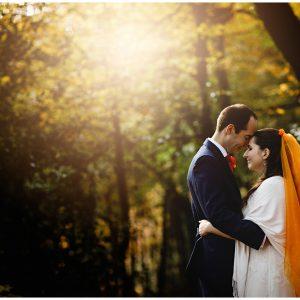 the bride & groom in the golden sun